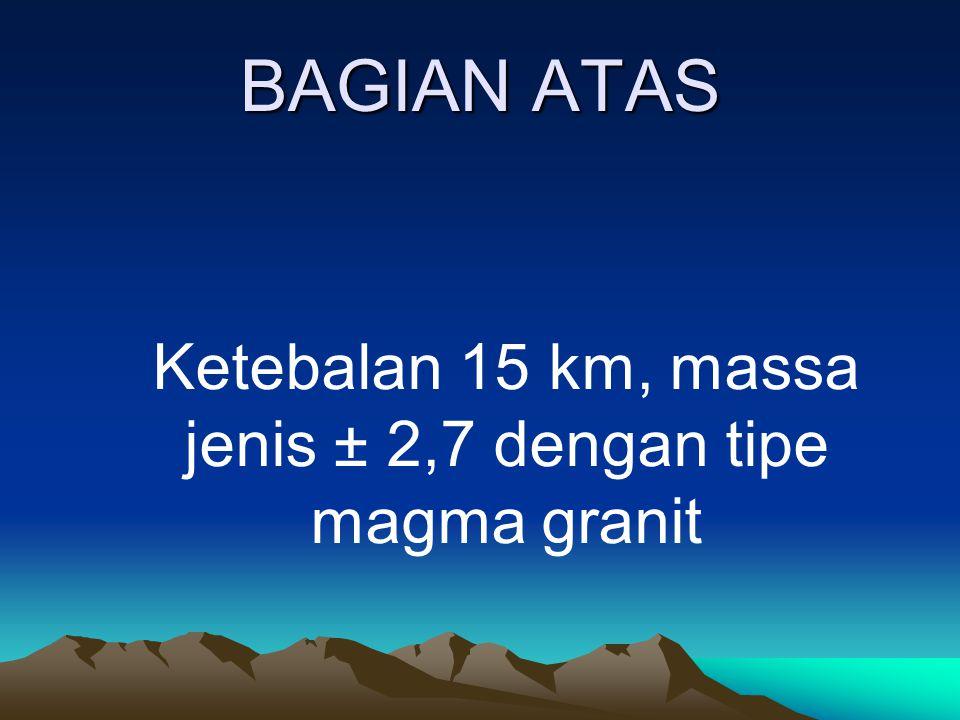 BAGIAN ATAS Ketebalan 15 km, massa jenis ± 2,7 dengan tipe magma granit