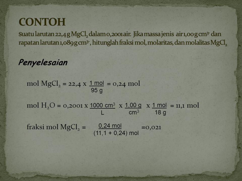massa larutan = 200 g H 2 O + 22,4 g MgCl 2 = 222,4 g volume larutan = 222,4 g x x 204 cm 3 = 0,204 L molaritas MgCl 2 = = 1,15 M molalitas MgCl 2 = = 1,18 mol kg -1 1 cm 3 1,089 g 0,24 mol 0,204 L 0,24 mol 0,200 kg H 2 O