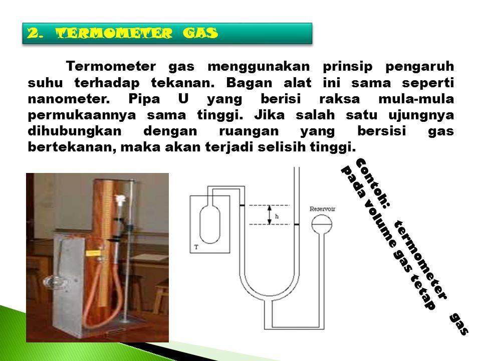 2.TERMOMETER GAS Termometer gas menggunakan prinsip pengaruh suhu terhadap tekanan. Bagan alat ini sama seperti nanometer. Pipa U yang berisi raksa mu