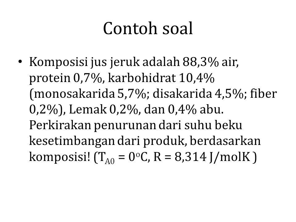 Contoh soal Komposisi jus jeruk adalah 88,3% air, protein 0,7%, karbohidrat 10,4% (monosakarida 5,7%; disakarida 4,5%; fiber 0,2%), Lemak 0,2%, dan 0,