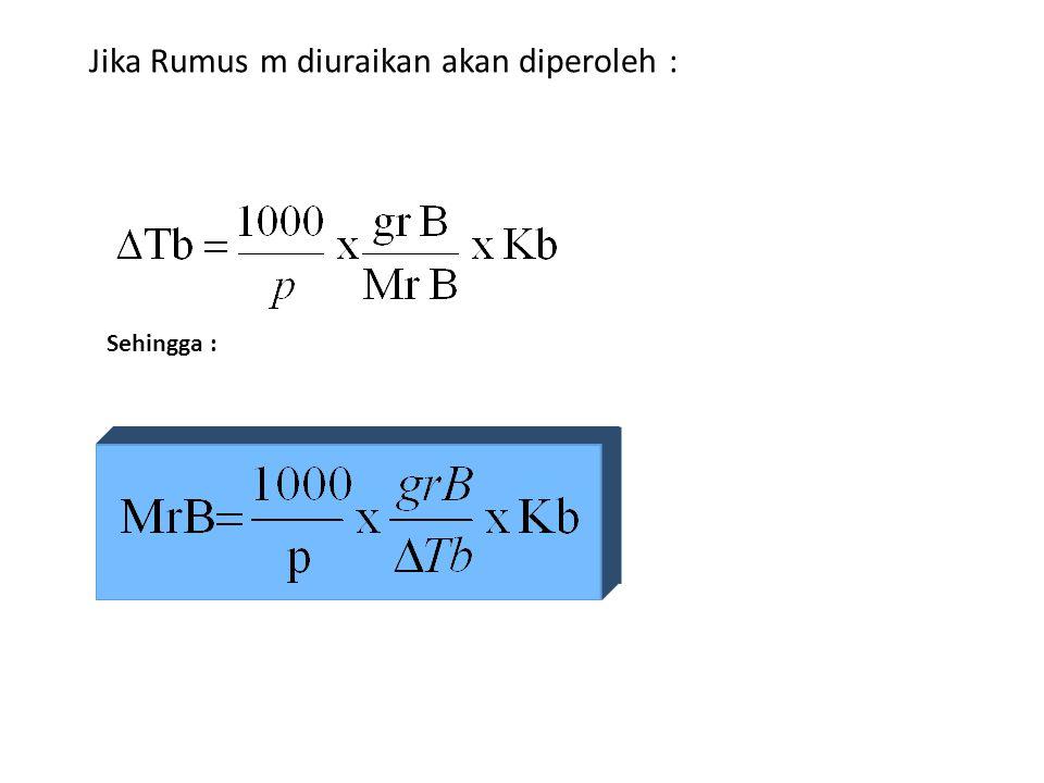 Menurut Raoult besarnya kenaikan titik didih adalah :  Tb = m. Kb Ket : m = Molalitas larutan Kb = Tetapan Kenaikan titik didih molal ( o C / m )
