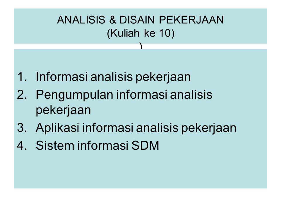 ANALISIS & DISAIN PEKERJAAN (Kuliah ke 10) ) 1.Informasi analisis pekerjaan 2.Pengumpulan informasi analisis pekerjaan 3.Aplikasi informasi analisis p