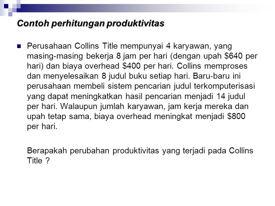 Contoh perhitungan produktivitas Perusahaan Collins Title mempunyai 4 karyawan, yang masing-masing bekerja 8 jam per hari (dengan upah $640 per hari)