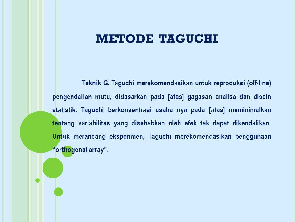 METODE TAGUCHI Teknik G. Taguchi merekomendasikan untuk reproduksi (off-line) pengendalian mutu, didasarkan pada [atas] gagasan analisa dan disain sta