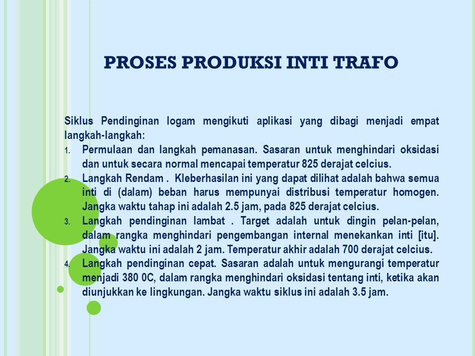 PROSES PRODUKSI INTI TRAFO Siklus Pendinginan logam mengikuti aplikasi yang dibagi menjadi empat langkah-langkah: 1. Permulaan dan langkah pemanasan.