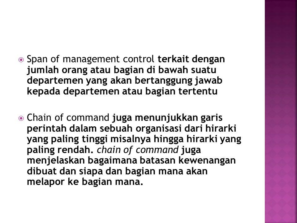  Span of management control terkait dengan jumlah orang atau bagian di bawah suatu departemen yang akan bertanggung jawab kepada departemen atau bagi