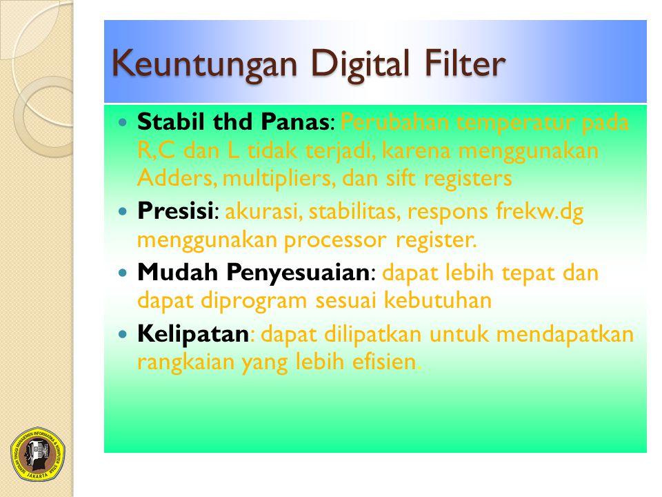 Keuntungan Digital Filter Stabil thd Panas: Perubahan temperatur pada R,C dan L tidak terjadi, karena menggunakan Adders, multipliers, dan sift registers Presisi: akurasi, stabilitas, respons frekw.dg menggunakan processor register.