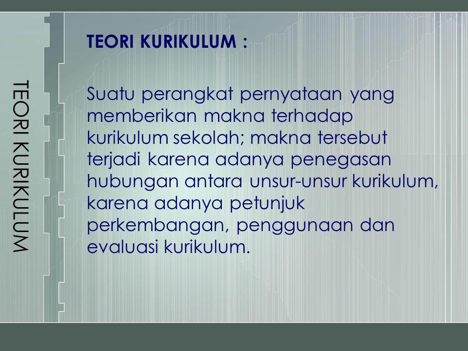TEORI KURIKULUM TEORI KURIKULUM : Suatu perangkat pernyataan yang memberikan makna terhadap kurikulum sekolah; makna tersebut terjadi karena adanya pe