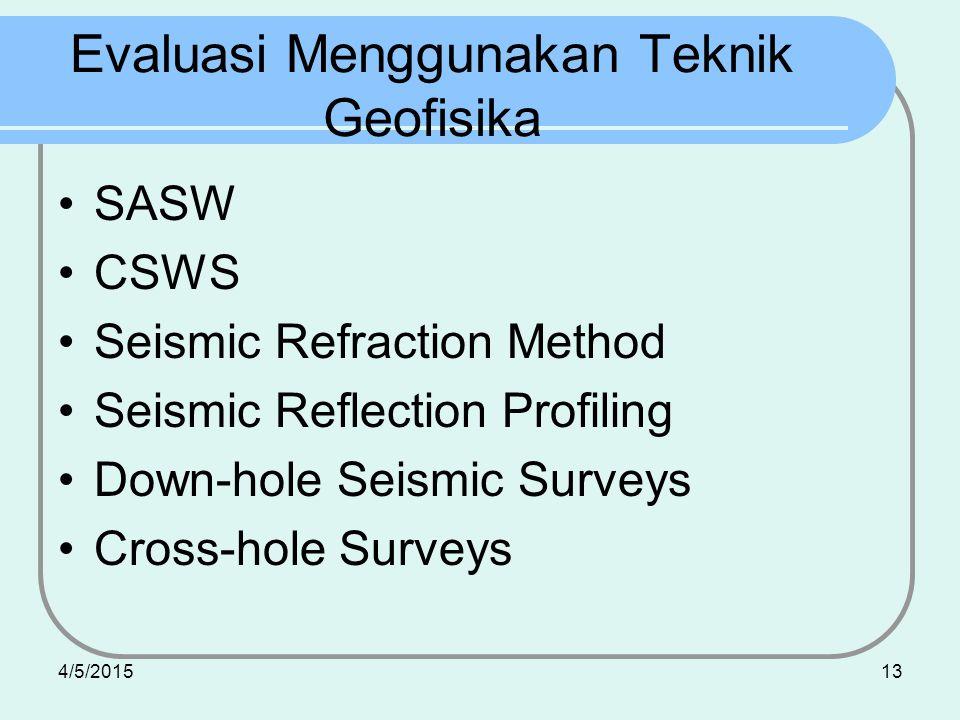 4/5/201513 Evaluasi Menggunakan Teknik Geofisika SASW CSWS Seismic Refraction Method Seismic Reflection Profiling Down-hole Seismic Surveys Cross-hole