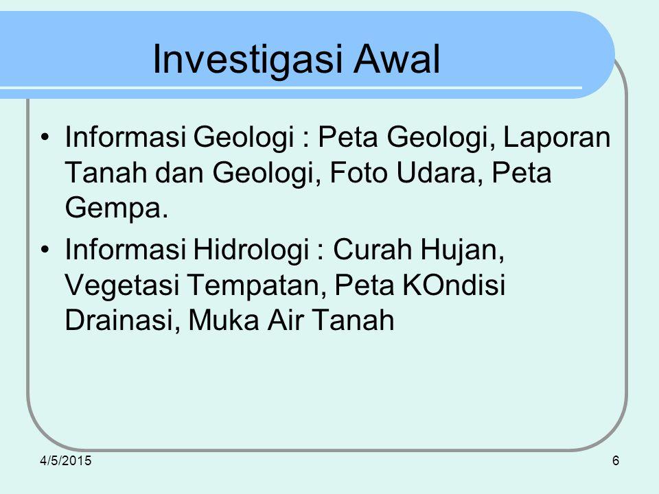4/5/20156 Investigasi Awal Informasi Geologi : Peta Geologi, Laporan Tanah dan Geologi, Foto Udara, Peta Gempa. Informasi Hidrologi : Curah Hujan, Veg