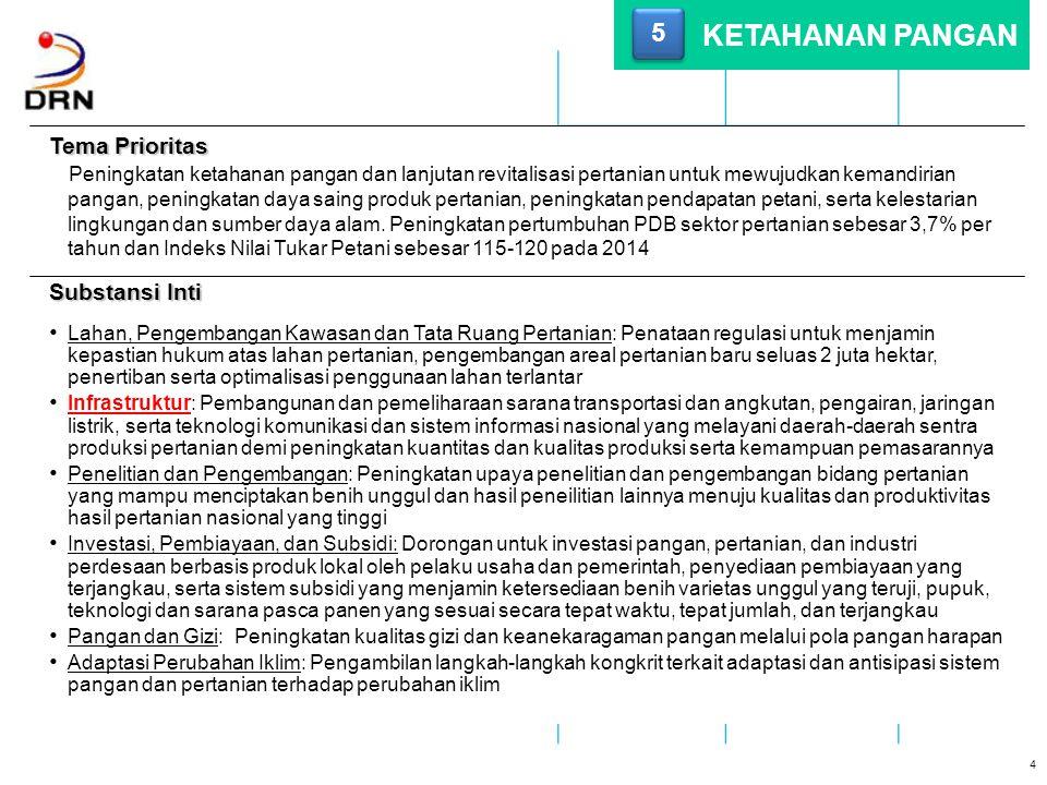 Tema Prioritas Pembangunan infrastruktur nasional yang memiliki daya dukung dan daya gerak terhadap pertumbuhan ekonomi dan sosial yang berkeadilan dan mengutamakan kepentingan masyarakat umum di seluruh bagian negara kepulauan Republik Indonesia dengan mendorong partisipasi masyarakat.