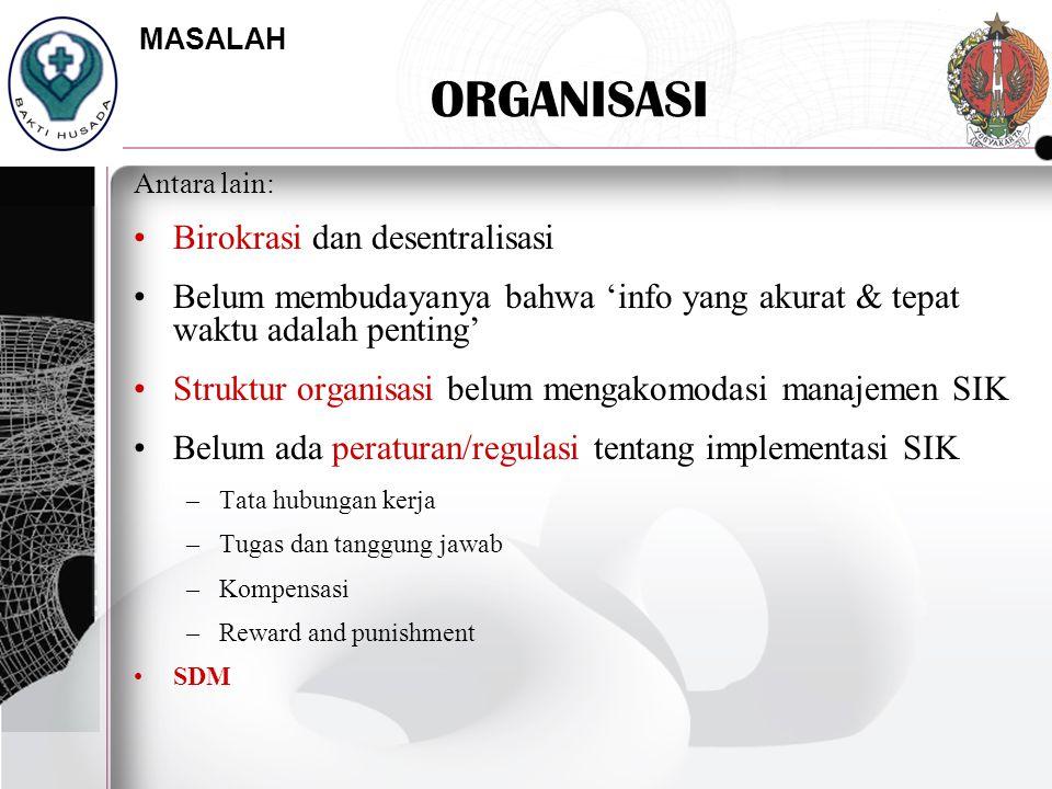 ORGANISASI Antara lain: Birokrasi dan desentralisasi Belum membudayanya bahwa 'info yang akurat & tepat waktu adalah penting' Struktur organisasi belu