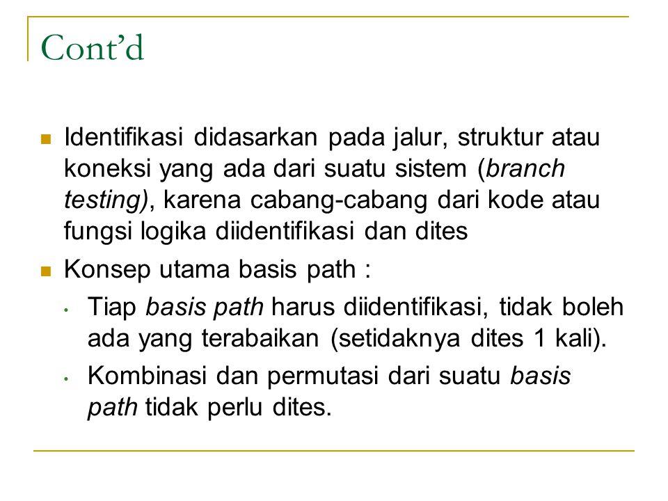 Cont'd Identifikasi didasarkan pada jalur, struktur atau koneksi yang ada dari suatu sistem (branch testing), karena cabang-cabang dari kode atau fungsi logika diidentifikasi dan dites Konsep utama basis path : Tiap basis path harus diidentifikasi, tidak boleh ada yang terabaikan (setidaknya dites 1 kali).