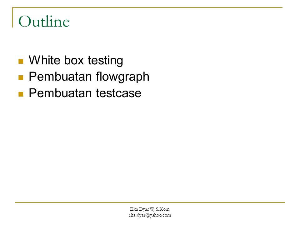 Eka Dyar W, S.Kom eka.dyar@yahoo.com Outline White box testing Pembuatan flowgraph Pembuatan testcase