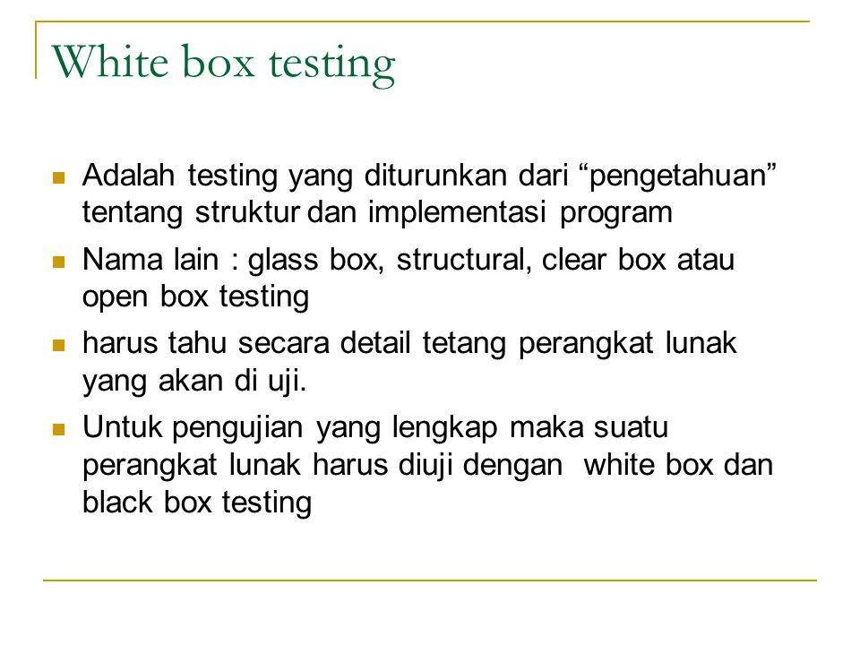 """White box testing Adalah testing yang diturunkan dari """"pengetahuan"""" tentang struktur dan implementasi program Nama lain : glass box, structural, clear"""