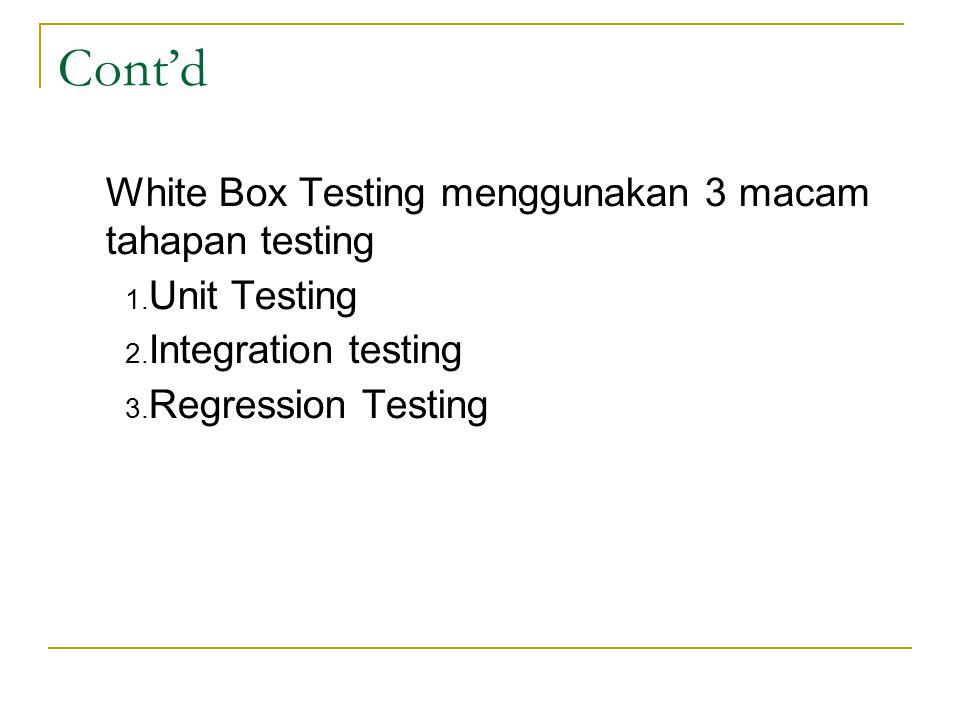 White Box Testing menggunakan 3 macam tahapan testing 1. Unit Testing 2. Integration testing 3. Regression Testing Cont'd