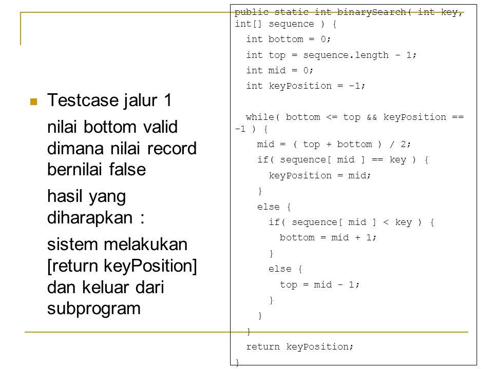 Testcase jalur 1 nilai bottom valid dimana nilai record bernilai false hasil yang diharapkan : sistem melakukan [return keyPosition] dan keluar dari subprogram public static int binarySearch( int key, int[] sequence ) { int bottom = 0; int top = sequence.length - 1; int mid = 0; int keyPosition = -1; while( bottom <= top && keyPosition == -1 ) { mid = ( top + bottom ) / 2; if( sequence[ mid ] == key ) { keyPosition = mid; } else { if( sequence[ mid ] < key ) { bottom = mid + 1; } else { top = mid - 1; } return keyPosition; }