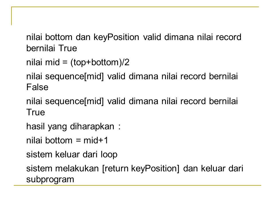 nilai bottom dan keyPosition valid dimana nilai record bernilai True nilai mid = (top+bottom)/2 nilai sequence[mid] valid dimana nilai record bernilai False nilai sequence[mid] valid dimana nilai record bernilai True hasil yang diharapkan : nilai bottom = mid+1 sistem keluar dari loop sistem melakukan [return keyPosition] dan keluar dari subprogram