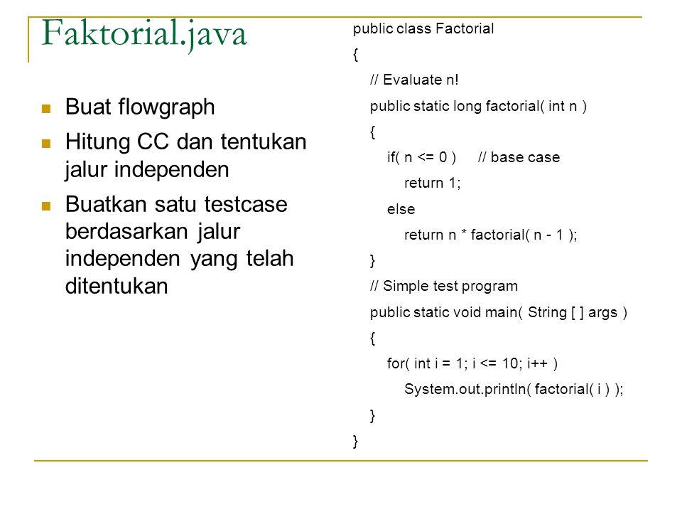 Faktorial.java public class Factorial { // Evaluate n! public static long factorial( int n ) { if( n <= 0 ) // base case return 1; else return n * fac