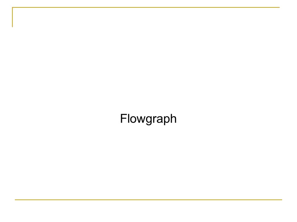 Setelah pembuatan flowgraph, tahap selanjutnya adalah menghitung CC untuk menentukan jumlah jalur independen CC = jml edges-jml nodes+2 CC = 13-10+2 = 5 3 1 2 10 F T F 4 T 5 T 6 F 7 T 8 F 9