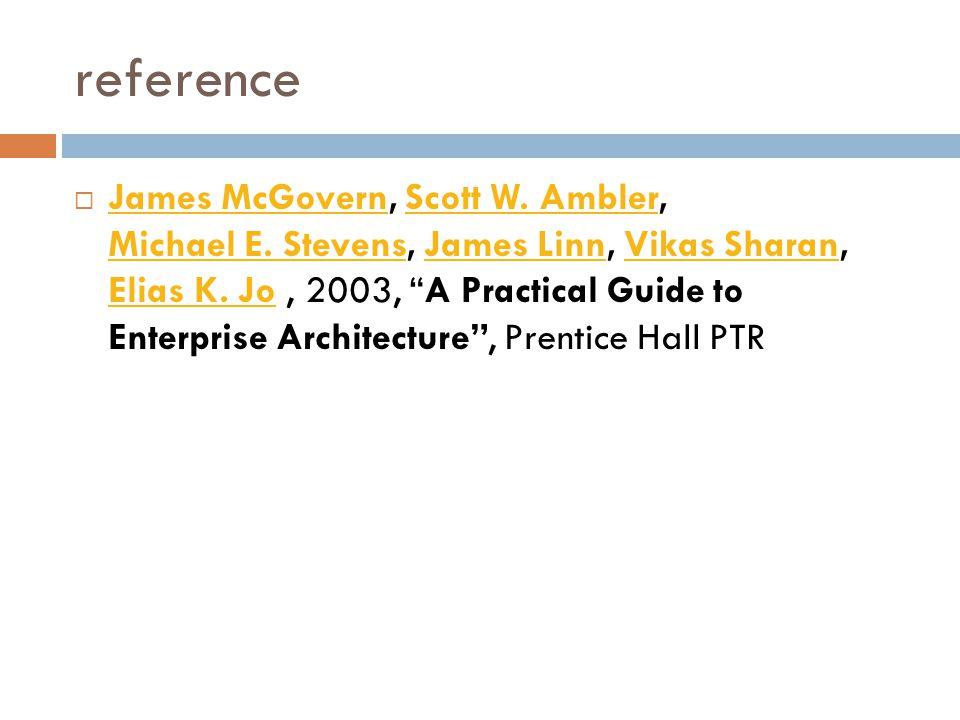 reference  James McGovern, Scott W.Ambler, Michael E.