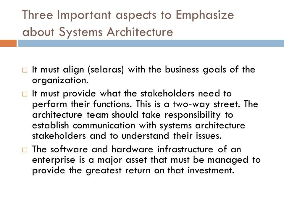 Software Architecture Arsitektur Software dari sebuah sistem memiliki pengaruh pada kualitas dari arsitektur organisasi enterprice Sementara desain dari software sistem berkonsentrasi pada terealisasinya fungsi yang dibutuhkan system.