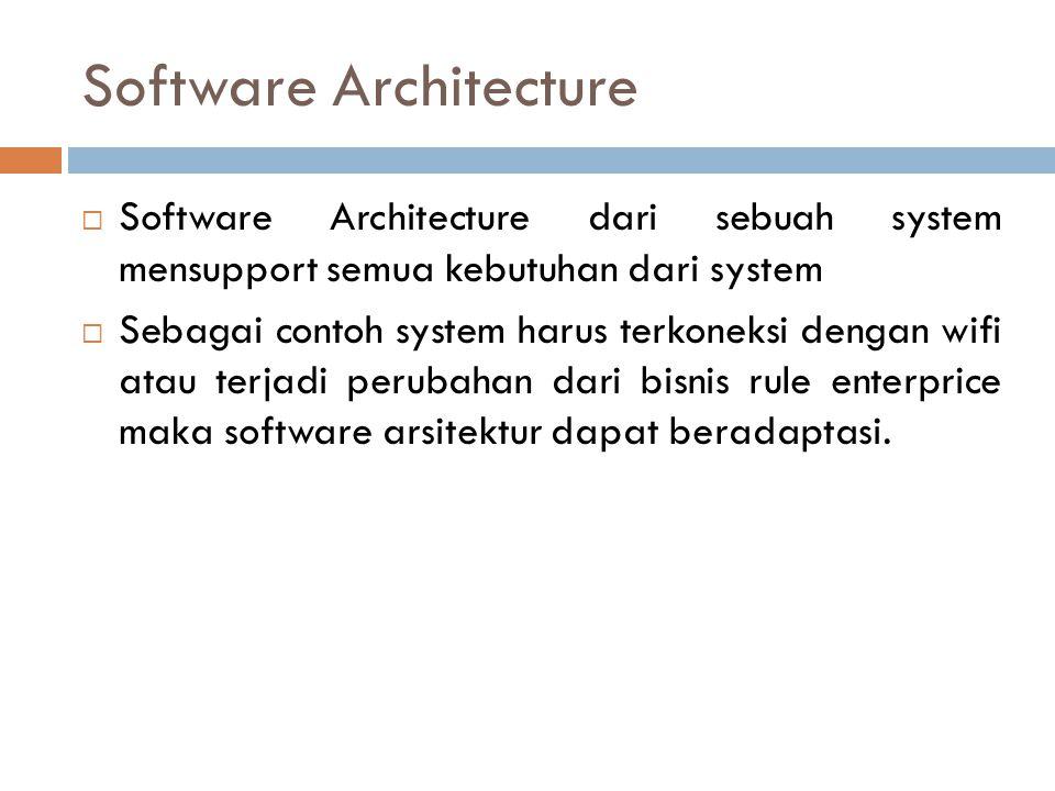 Software Architecture  Software Architecture dari sebuah system mensupport semua kebutuhan dari system  Sebagai contoh system harus terkoneksi dengan wifi atau terjadi perubahan dari bisnis rule enterprice maka software arsitektur dapat beradaptasi.