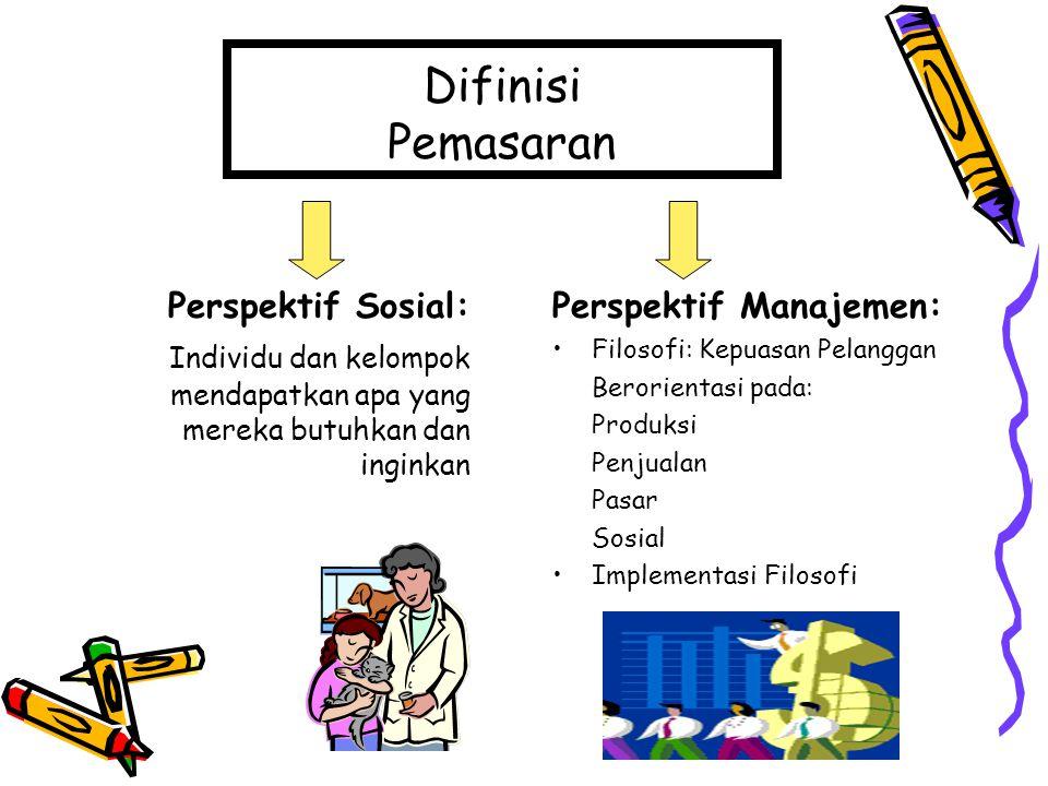 Difinisi Pemasaran Perspektif Sosial: Individu dan kelompok mendapatkan apa yang mereka butuhkan dan inginkan Perspektif Manajemen: Filosofi: Kepuasan