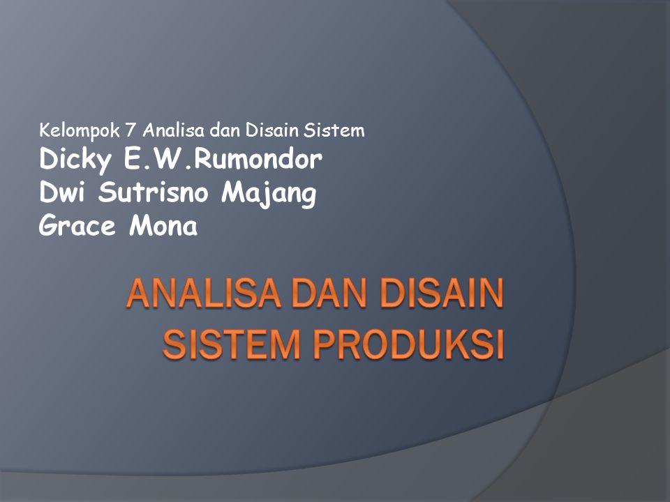 Kelompok 7 Analisa dan Disain Sistem Dicky E.W.Rumondor Dwi Sutrisno Majang Grace Mona