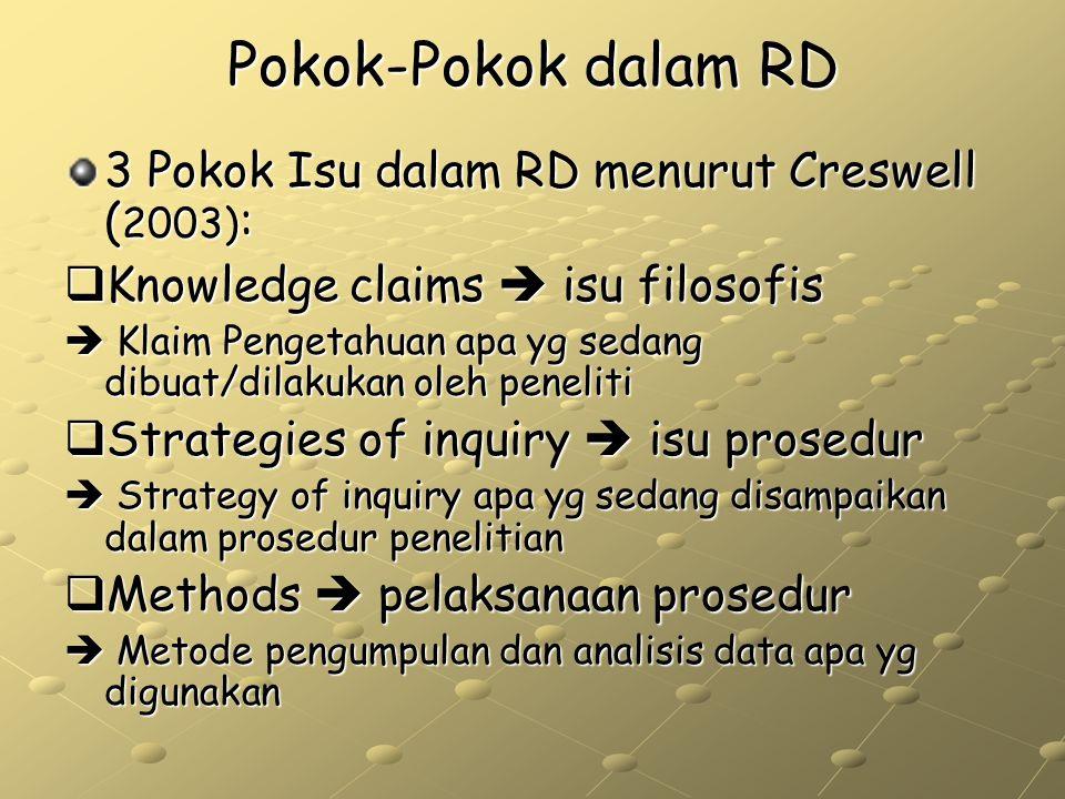 Pokok-Pokok dalam RD 3 Pokok Isu dalam RD menurut Creswell ( 2003) :  Knowledge claims  isu filosofis  Klaim Pengetahuan apa yg sedang dibuat/dilak