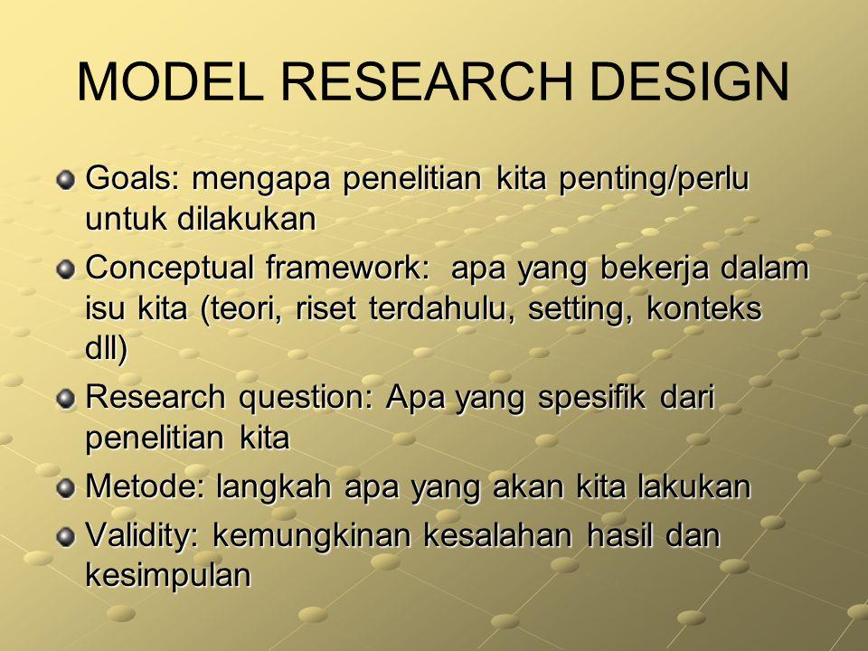 MODEL RESEARCH DESIGN Goals: mengapa penelitian kita penting/perlu untuk dilakukan Conceptual framework: apa yang bekerja dalam isu kita (teori, riset