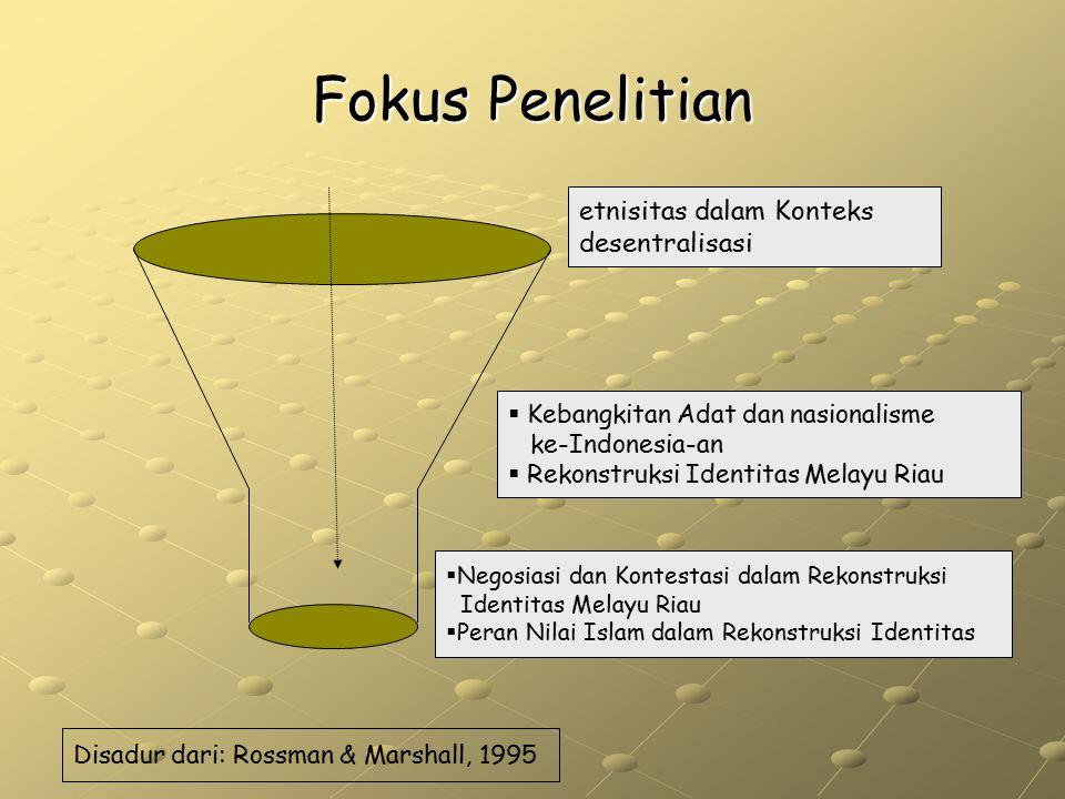 Fokus Penelitian Disadur dari: Rossman & Marshall, 1995 etnisitas dalam Konteks desentralisasi  Kebangkitan Adat dan nasionalisme ke-Indonesia-an  R
