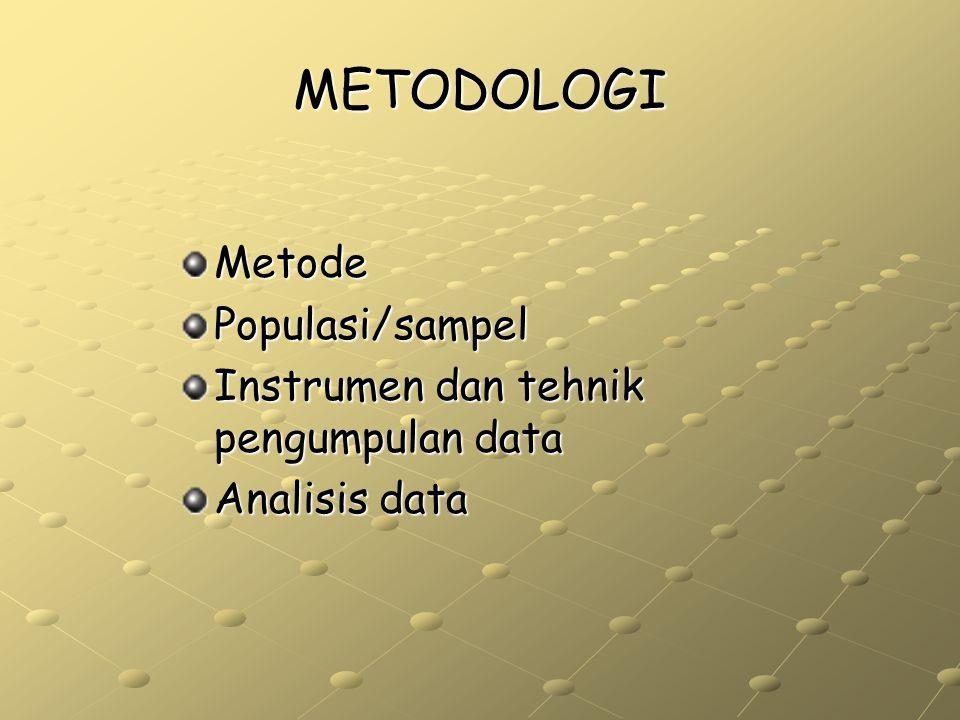 METODOLOGI MetodePopulasi/sampel Instrumen dan tehnik pengumpulan data Analisis data