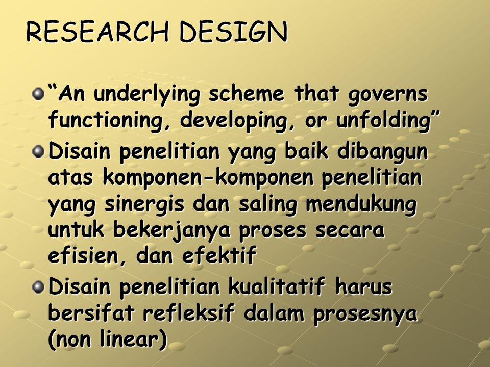 MODEL RESEARCH DESIGN Goals: mengapa penelitian kita penting/perlu untuk dilakukan Conceptual framework: apa yang bekerja dalam isu kita (teori, riset terdahulu, setting, konteks dll) Research question: Apa yang spesifik dari penelitian kita Metode: langkah apa yang akan kita lakukan Validity: kemungkinan kesalahan hasil dan kesimpulan