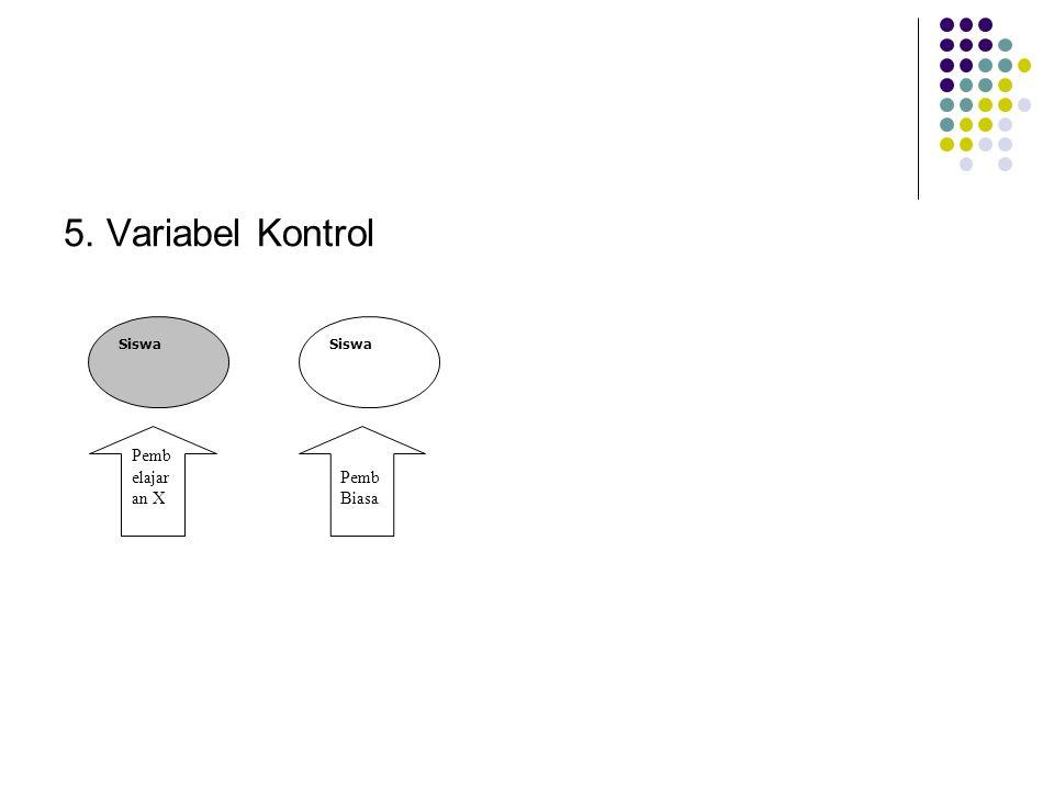 5. Variabel Kontrol Siswa Pemb elajar an X Pemb Biasa