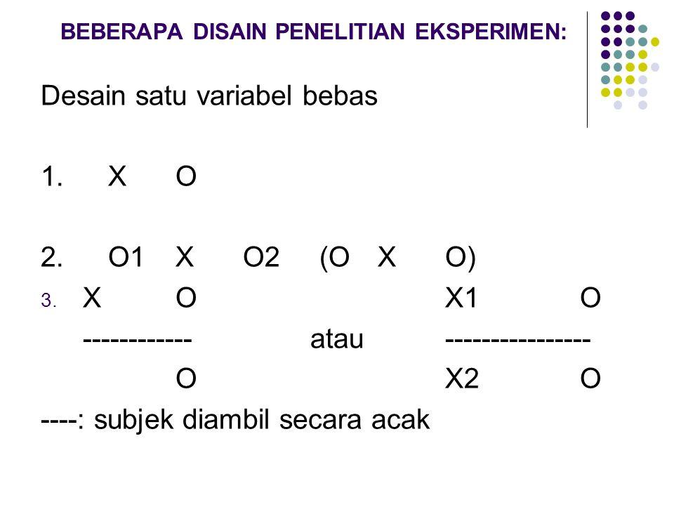 BEBERAPA DISAIN PENELITIAN EKSPERIMEN: Desain satu variabel bebas 1.X O 2. O1XO2 (O XO) 3. XOX1O ------------atau---------------- OX2O ----: subjek di