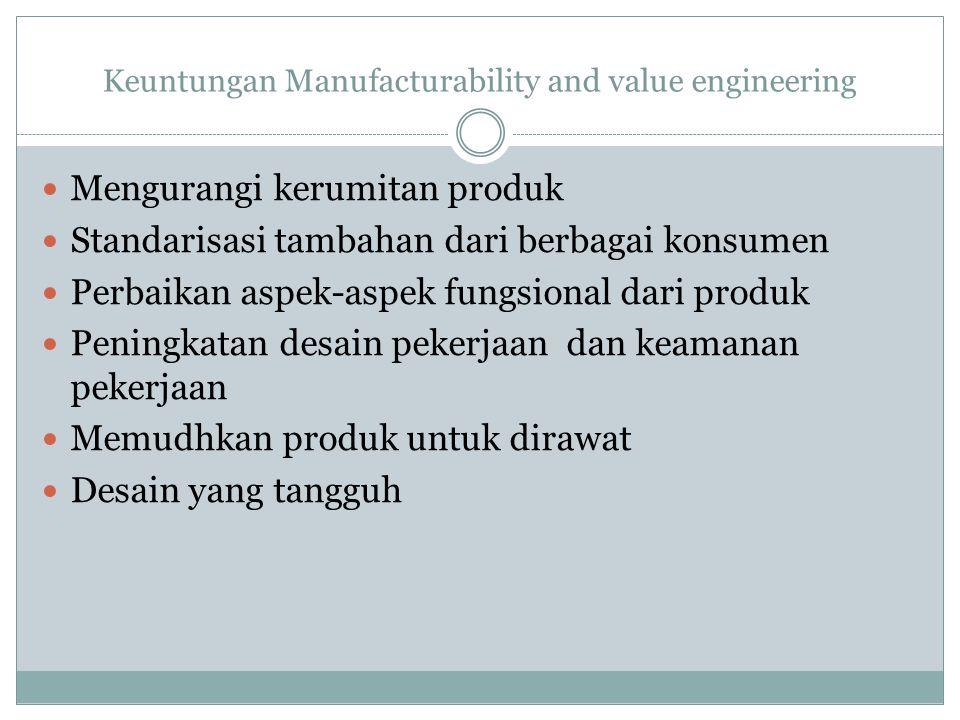 Manufacturability and value engineering Aktivitas yang membentu meningkatkan kualitas desain, produksi, pemeliharaan dan penggunaan dari produk