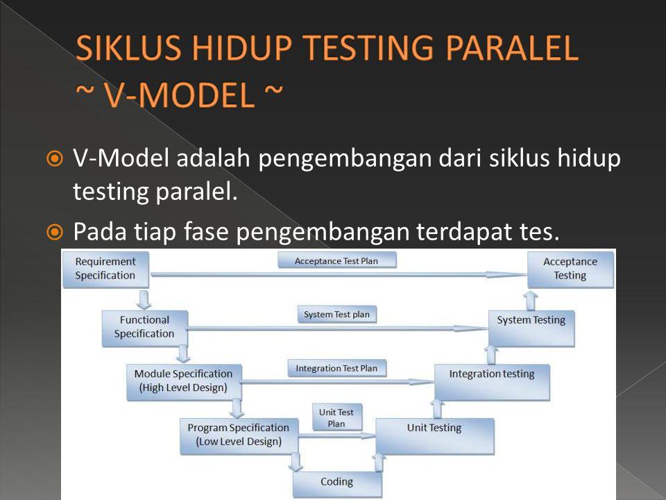  V-Model adalah pengembangan dari siklus hidup testing paralel.  Pada tiap fase pengembangan terdapat tes.