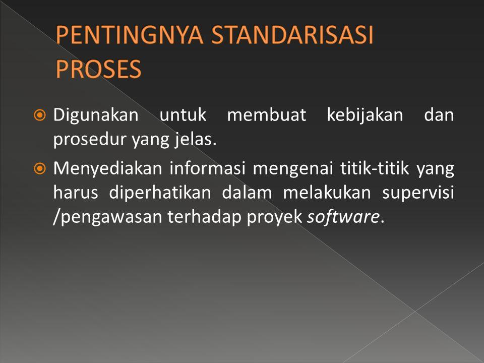  Tujuan dari standar pengembangan adalah membuat proses software menjadi dapat dilihat dan dapat dimengerti oleh organisasi secara keseluruhan.