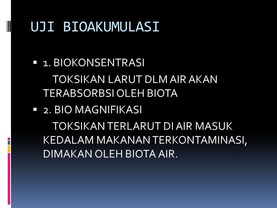 UJI BIOAKUMULASI  1. BIOKONSENTRASI TOKSIKAN LARUT DLM AIR AKAN TERABSORBSI OLEH BIOTA  2. BIO MAGNIFIKASI TOKSIKAN TERLARUT DI AIR MASUK KEDALAM MA