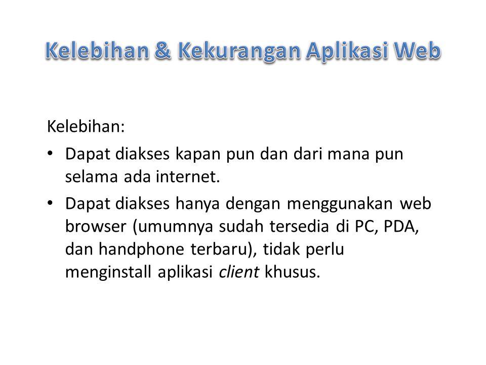 Kelebihan: Dapat diakses kapan pun dan dari mana pun selama ada internet. Dapat diakses hanya dengan menggunakan web browser (umumnya sudah tersedia d