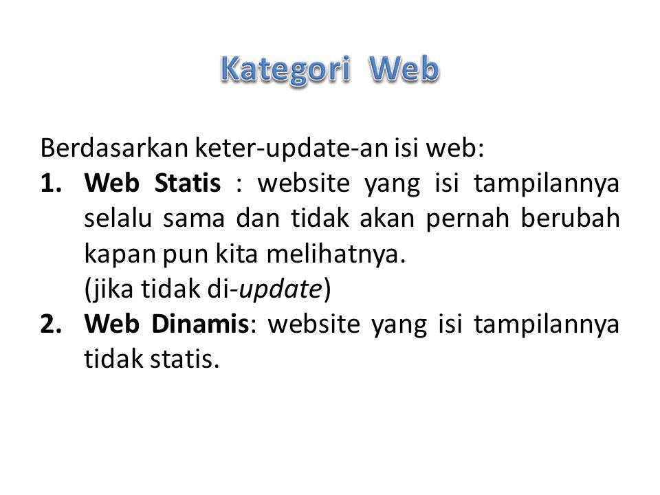 Berdasarkan keter-update-an isi web: 1.Web Statis : website yang isi tampilannya selalu sama dan tidak akan pernah berubah kapan pun kita melihatnya.