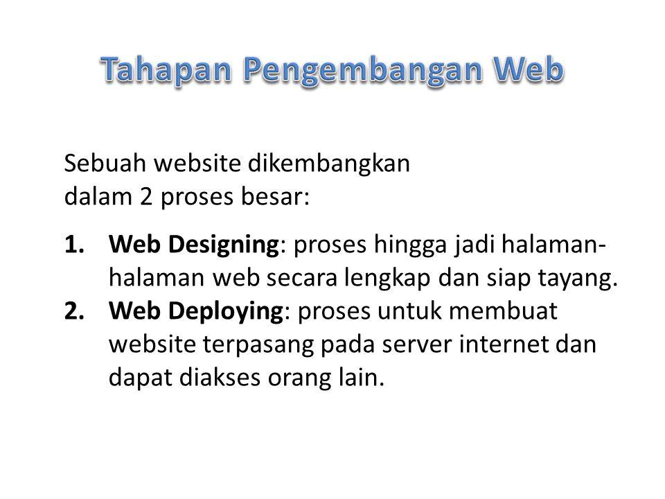 Sebuah website dikembangkan dalam 2 proses besar: 1.Web Designing: proses hingga jadi halaman- halaman web secara lengkap dan siap tayang. 2.Web Deplo