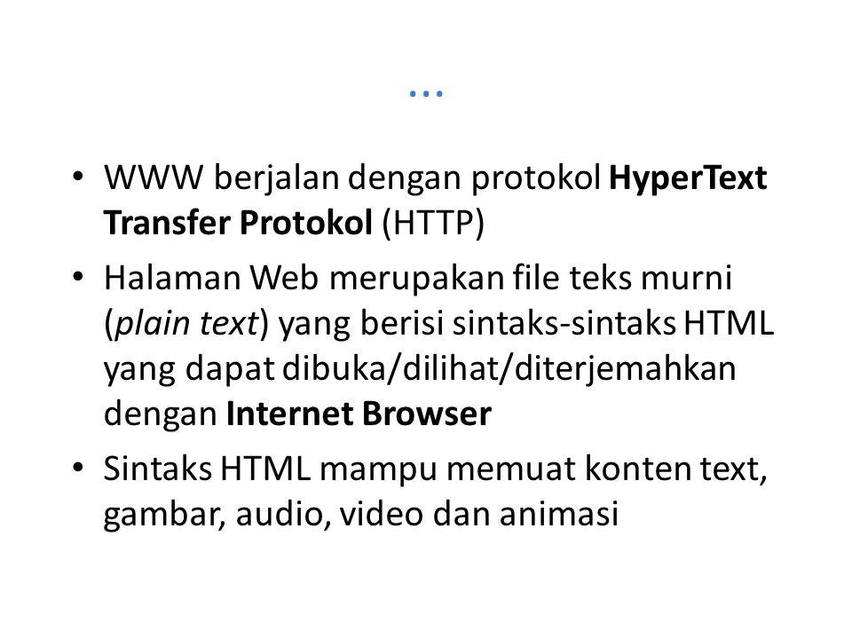 ... WWW berjalan dengan protokol HyperText Transfer Protokol (HTTP) Halaman Web merupakan file teks murni (plain text) yang berisi sintaks-sintaks HTM
