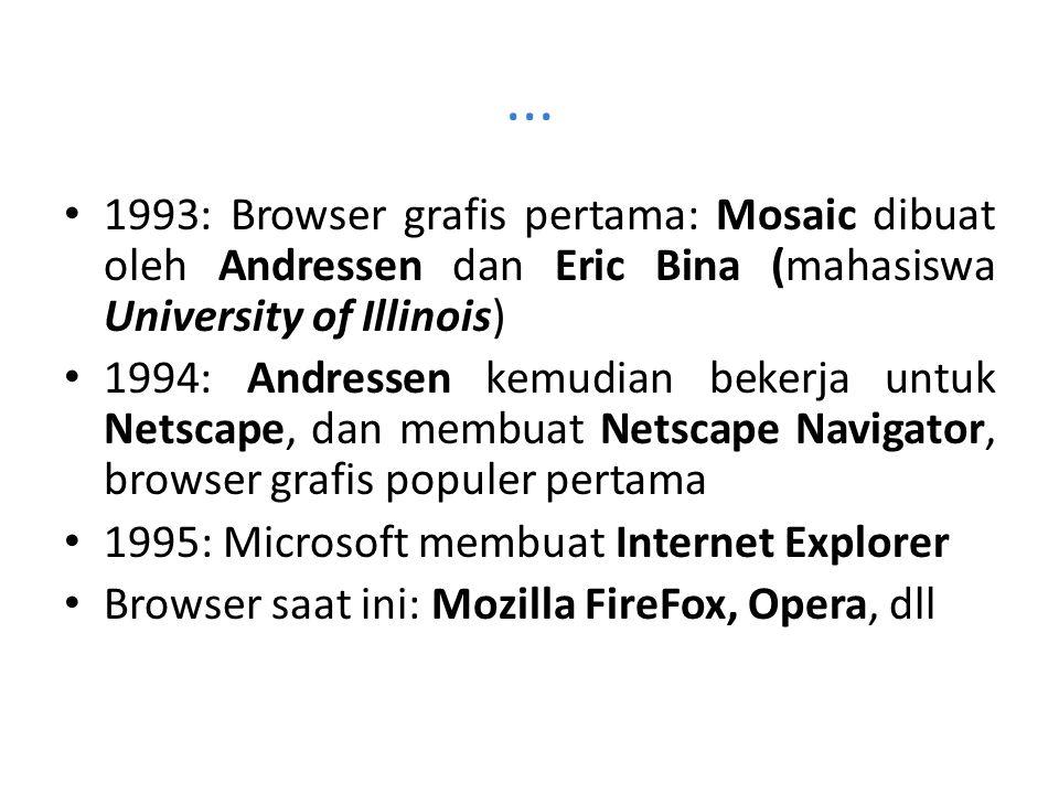... 1993: Browser grafis pertama: Mosaic dibuat oleh Andressen dan Eric Bina (mahasiswa University of Illinois) 1994: Andressen kemudian bekerja untuk
