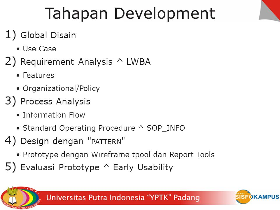 Tahapan Development 1) Global Disain Use Case 2) Requirement Analysis ^ LWBA Features Organizational/Policy 3) Process Analysis Information Flow Stand