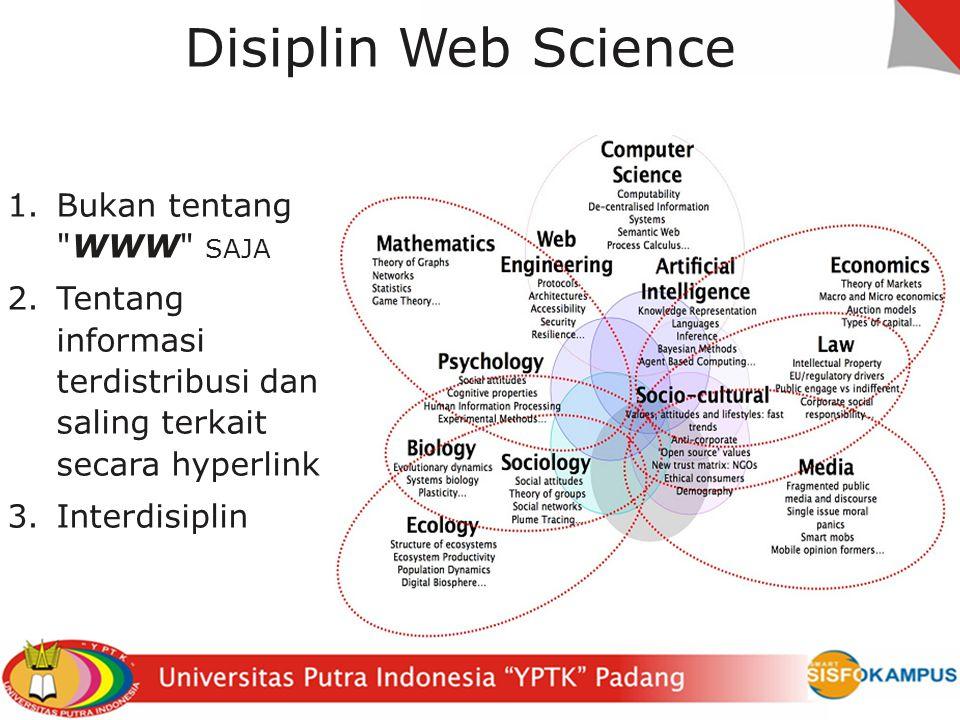 Disiplin Web Science 1.Bukan tentang WWW SAJA 2.Tentang informasi terdistribusi dan saling terkait secara hyperlink 3.Interdisiplin