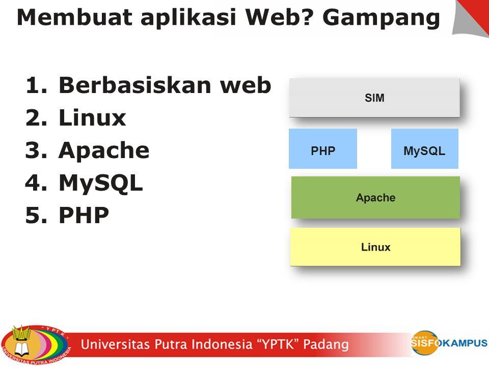 Membuat aplikasi Web? Gampang 1.Berbasiskan web 2.Linux 3.Apache 4.MySQL 5.PHP PHPMySQL