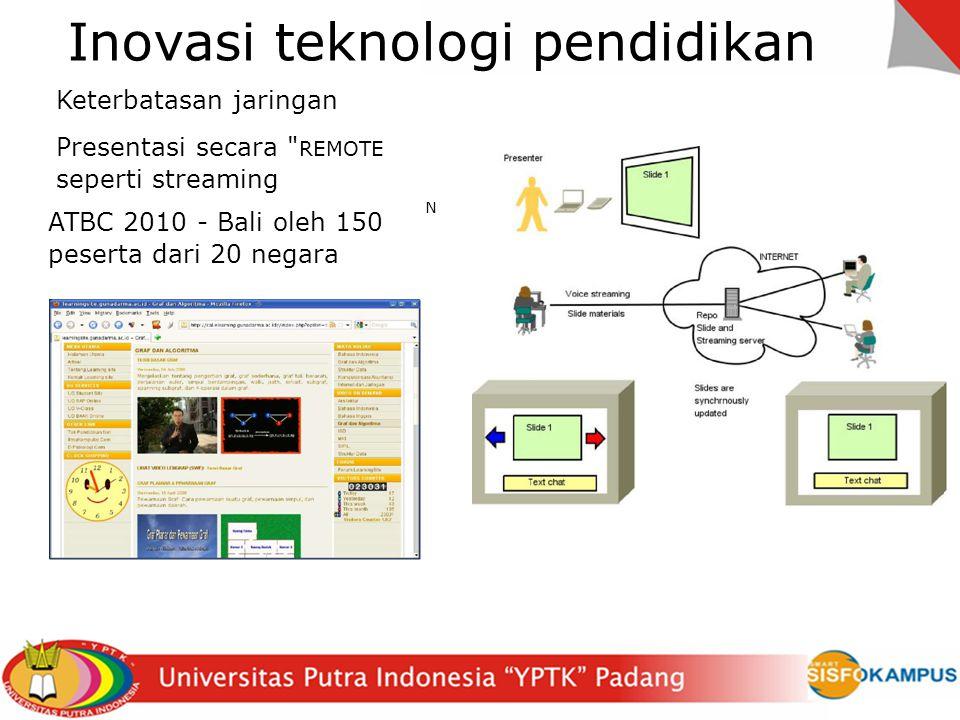 Inovasi teknologi pendidikan N Keterbatasan jaringan Presentasi secara REMOTE seperti streaming ATBC 2010 - Bali oleh 150 peserta dari 20 negara