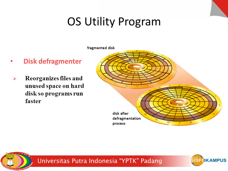 Disk defragmenter  Reorganizes files and unused space on hard disk so programs run faster fragmented disk disk after defragmentation process OS Utili